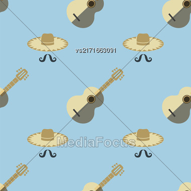 Mexican Guitar With Hat And Mustaches Seamless Pattern On Blue Background Stock Photo