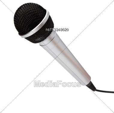 Microphone Isolated On White Background Stock Photo