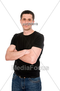 Mid Adult Man In The Black T-shirt Stock Photo