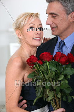 Middle Age Couple On Valentine Day Stock Photo