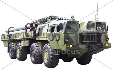 Militaru Technics. Isolated Over Whita Background Stock Photo