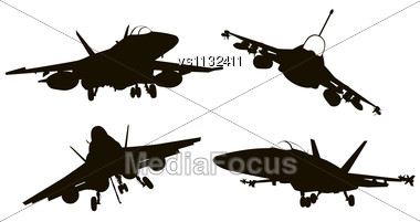 Military Aircraft Silhouettes Collection. Vector EPS 8 Stock Photo