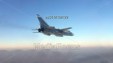 Military Jet Bomber Su-24 Fencer Flying Above The Clouds Stock Photo