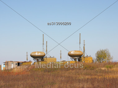 Military Round Aerial For Navigation Of Planes And Helicopters In Airdromes Stock Photo