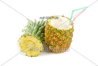 Milk Cocktail With Pineapple As Cup On A White Stock Photo