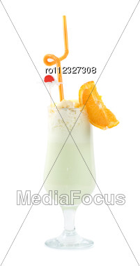 Milk Fruit Cocktail With Slice Of Orange Cream And Pipe Stock Photo