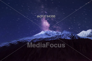 Milky Way And Mountains Landscape In Himalaya Stock Photo