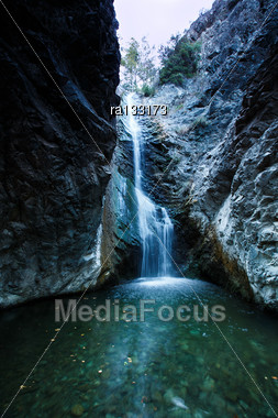 Millomeri Waterfalls In Platres Near Troodos, Cyprus Stock Photo