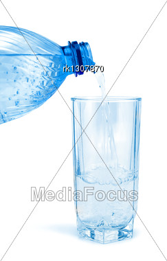 Mineral Water In A Glasses And Bottle Stock Photo