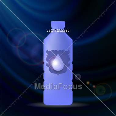 Mineral Water Plastic Bottle On Blue Wave Background Stock Photo