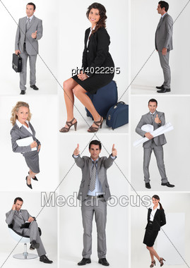 Miscellaneous Snapshots Of Male And Female Business Persons Stock Photo