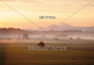 Misty Morning Sunrise - Bavaria, Germany Stock Photo