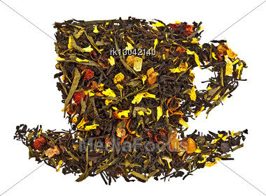 Mixture Of Black And Green Dry Tea With Petals Of Sunflower, Rose, Fruit Of Rose Hips And Papaya In Form Cup Isolated Stock Photo