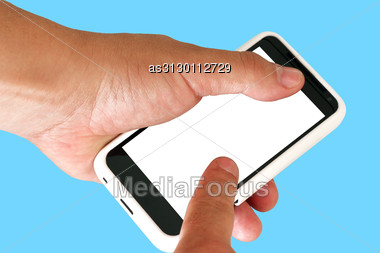Mobile Phone In A Man's Hand. Stock Photo