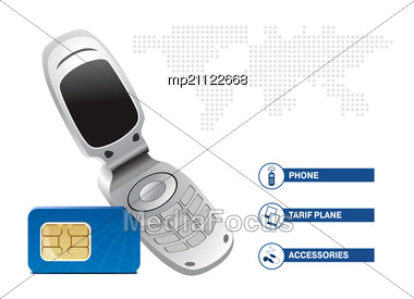 Mobile Phone With SIM Card On White Background. Template Design Stock Photo