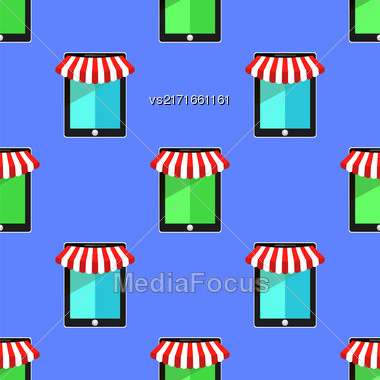 Mobile Store Seamless Pattern On Blue Background Stock Photo