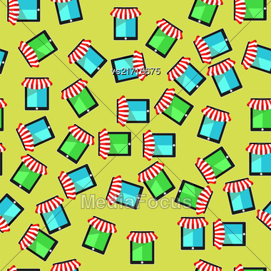 Mobile Store Seamless Pattern On Yellow Background Stock Photo