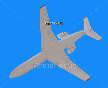 Model Of A Passenger Airplane On A Blue Background Stock Photo