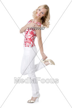 Model with long blond curly hair Stock Photo