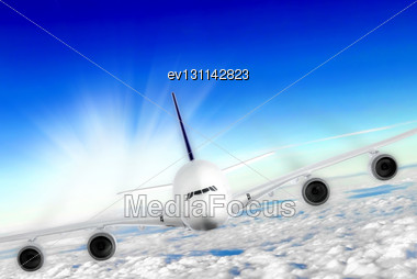 Modern Airplane In The Sky Near Airport. Approach Stock Photo