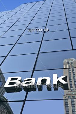 Modern Bank Sign On A Building Facade Stock Photo