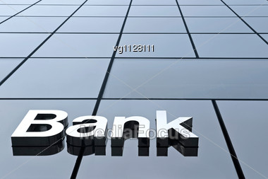Modern Bank Sign On A Glass Panels Stock Photo