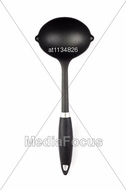 Modern Black Ladle Stock Photo