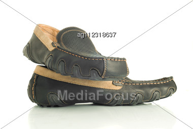 Modern Black Mens Shoes Moccasins Over White Stock Photo
