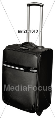 Modern Black Suitcase On Wheels. Isolated On White Background Stock Photo