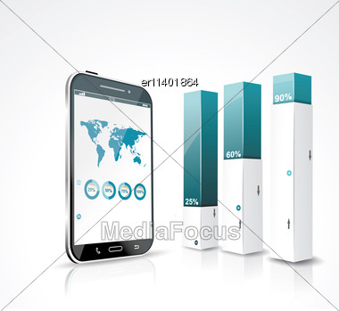 Modern Box Design Minimal Style Infographic Template With A Touch Screen Smartphone Stock Photo