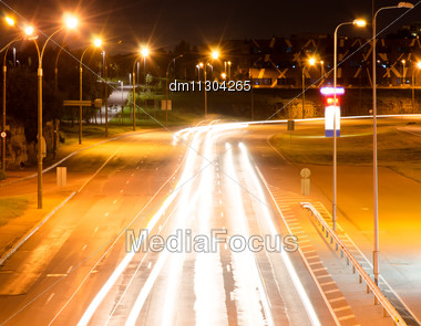 Modern City Highway At Night. Stock Photo