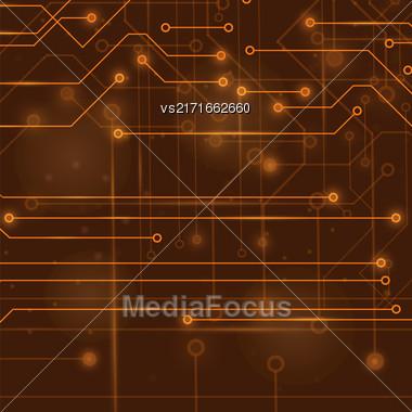 Modern Computer Technology Background. Circuit Board Pattern. High Tech Printed Circuit Board Stock Photo