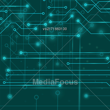 Modern Computer Technology Background. Circuit Board Pattern. High Tech Printed Circuit Board Stock Photo