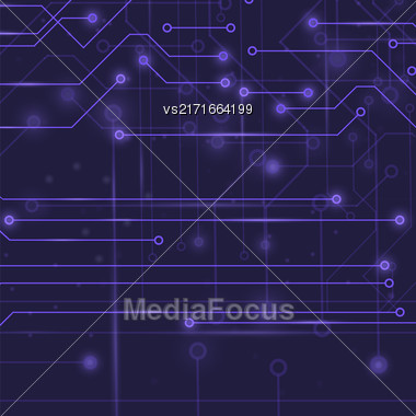 Modern Computer Technology Blue Background. Circuit Board Pattern. High Tech Printed Circuit Board Stock Photo