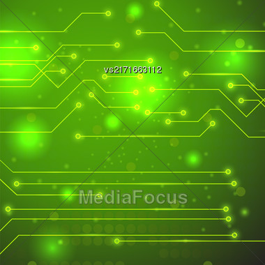 Modern Computer Technology Green Background. Circuit Board Pattern. High Tech Printed Circuit Board Stock Photo