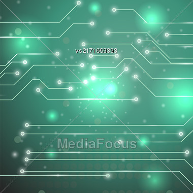 Modern Computer Technology Green Background. Circuit Board Pattern. High Tech Printed Circuit Board Stock Photo