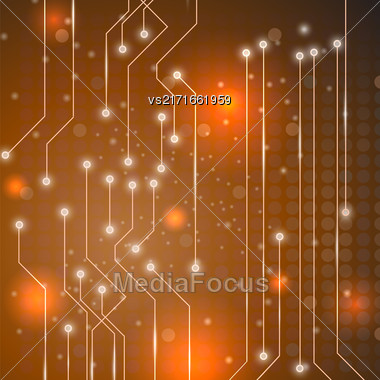Modern Computer Technology Orange Background. Circuit Board Pattern. High Tech Printed Circuit Board Stock Photo