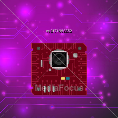 Modern Computer Technology Pink Background. Circuit Board Pattern. High Tech Printed Circuit Board Stock Photo