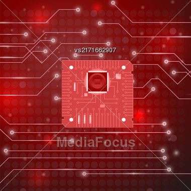 Modern Computer Technology Red Background. Circuit Board Pattern. High Tech Printed Circuit Board Stock Photo