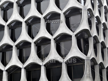 Modern Concrete Building Facade Formed From Triangular