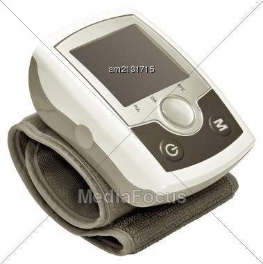 Modern Electronic Blood Pressure Monitor Isolated On White Background Stock Photo