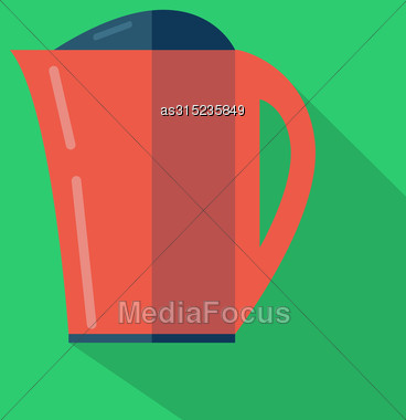 Modern Flat Design Concept Icon. Kettle Tea And Coffee Makers. Vector Illustration Stock Photo