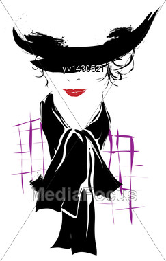 Modern Girl, Sketch, Red Lips, White Background, Fashionable Hairstyle Stock Photo