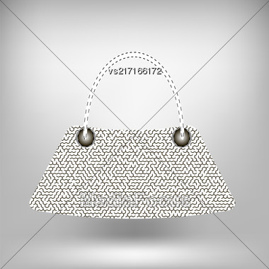 Modern Handbag Isolated On Gray Soft Background Stock Photo