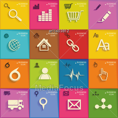 Modern Infographic Or Webdesign Symbols, Mobile Shopping Communication And Delivery Service. Flat Design Stock Photo