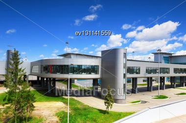 Modern International Airport Terminal. Int Lines Stock Photo