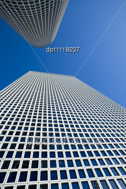 Modern Office Building, Skyscrapers Under The Blue Sky Stock Photo