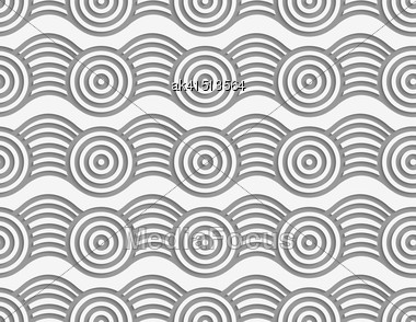 Modern Seamless Pattern. Geometric Background With Perforated Effect. Shadow Creates 3D Texture.Perforated Circles On Bulging Ribbon Stock Photo