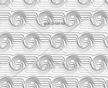 Modern Seamless Pattern. Geometric Background With Perforated Effect. Shadow Creates 3D Texture.Perforated Striped Swirling Waves Stock Photo