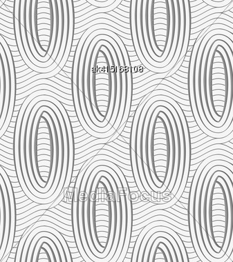 Modern Seamless Pattern. Geometric Background With Perforated Effect. Shadow Creates 3D Texture.Perforated Ovals On Continues Lines Stock Photo
